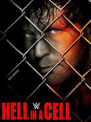 Hell In A Cell 2013 Retro Wrestling Poster A4 8x11 WWF Dean Ambrose Seth Rollins