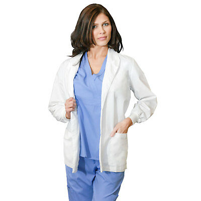"Medgear Women's White Lab Coat 33"", Shawl Collar, Knit Cuff Sleeves 311"