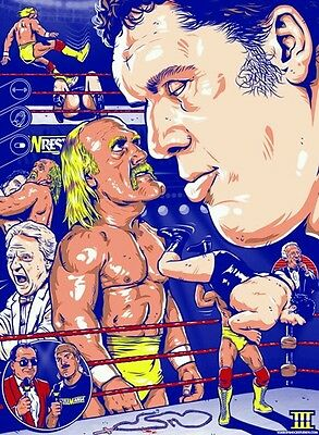 wrestlemania 3 1987 andre the giant hogan retro wrestling poster a4