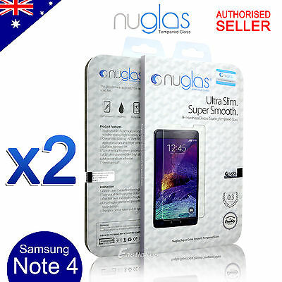 2X GENUINE NUGLAS Tempered Glass Screen Protector for Samsung Galaxy Note 4