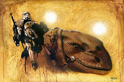 Stormtrooper Dewback Tatooine Suns Episode 4 Star Wars Fine Art Giclée on Canvas