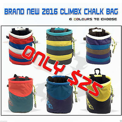 Brand New 2016 CLIMBX Rock Climbing Chalk Bag 6 Colurs CLIMBGEAR Outdoor Sports