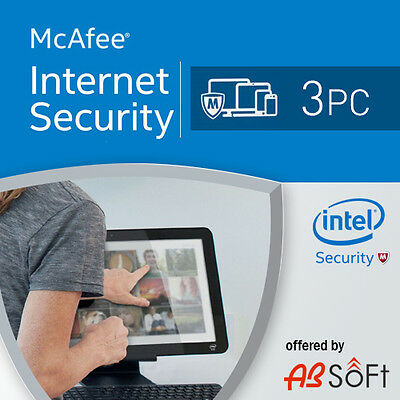 McAfee Internet Security 2019 3 PC 1 Year License Antivirus 2018 3 user's