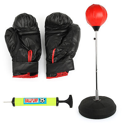 Free Standing Adjustable Adult Punch Bag Ball Set Includes Gloves Boxing