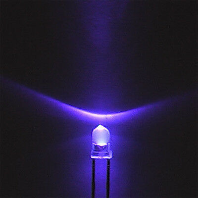 50pcs F3 3mm Round Ultra Violet LED UV Light 395-400nm Purple Lamp NEW