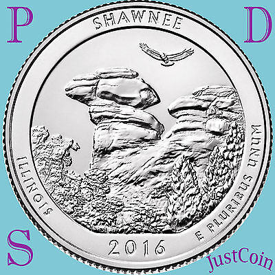 2016 Pds Shawnee National Forest (Il) Three Quarters Set Uncirculated Presale