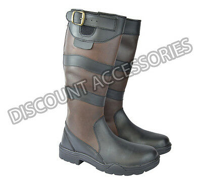 Leather Country Riding Boots Outdoor Yard Stable River Trail Long Style Brown
