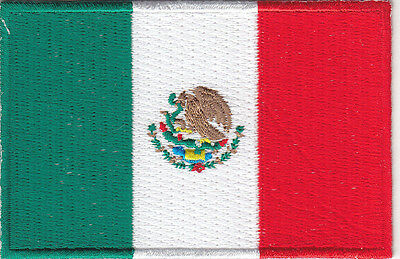 """MEXICO FLAG (3 1/2"""" x 2 1/4""""- Mexican National Flag ron On Embroidered Patch"""