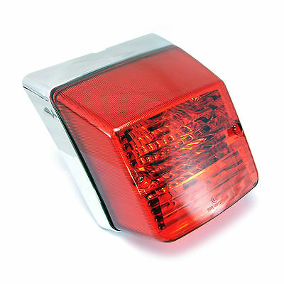 Rear Tail Light Lamp + Bulbs fits VESPA PX 125 150 200 - Top Quality Chrome