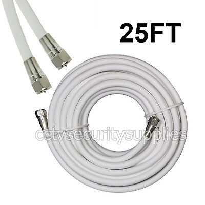 25 FT Coaxial Digital Cable for Satellite TV VCR Video Wire Coax White
