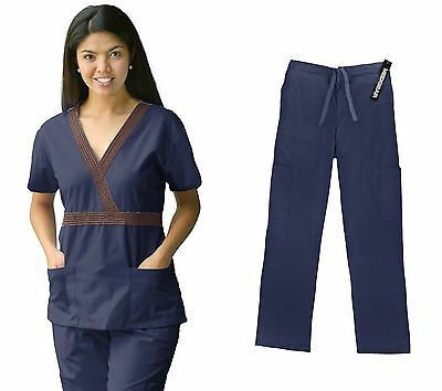 Material Girl Womens Medical Scrubs Set Top and Pants Nurse Uniform 7872