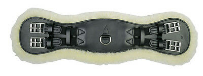 HKM Real Lambs Wool Black Leather Dressage Girth Available