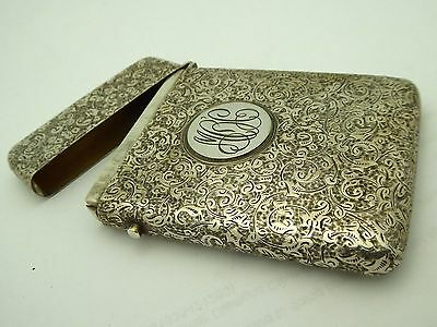 Antique Victorian Signed George Howson 925 Sterling Chased Monogrammed Card Case
