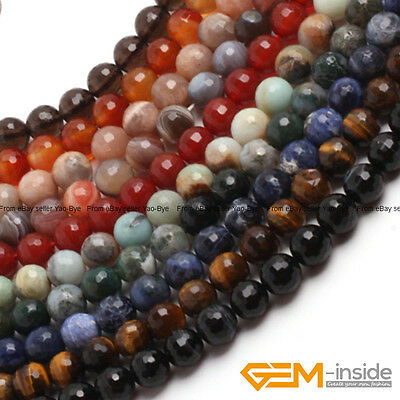 "Natural Stone Faceted Round Spacer Beads For Jewelry Making 15"" 4mm 6mm 8mm 10mm"