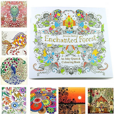 C8 US Young Adults Enchanted Forest Paiting An Inky English Quest Coloring Books