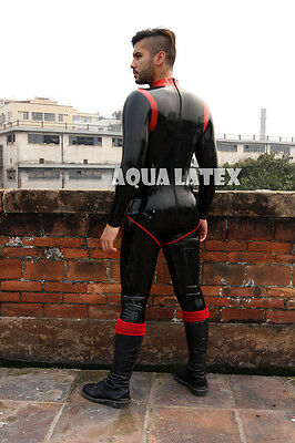 Tight Sexy Rubber Latex Catsuit Man Turtle Collar Bodysuit Black with Red Stripe
