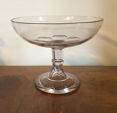 Antique EAPG Glass Tazza Compote Footed Fruit Bowl Centerpiece 19th c. American