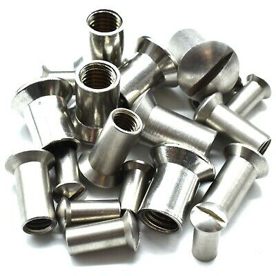M4 M5 M6 & M8 x 15 A2 STAINLESS STEEL RAISED COUNTERSUNK THREADED SLEEVE NUTS