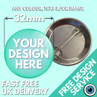 32mm Custom Badges Personalised Button Badge Bespoke Hen & Stag Wedding Charity