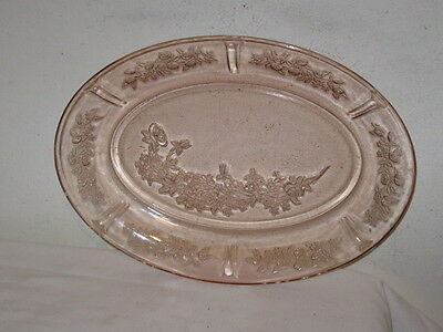 Antique Pink Depression Federal Glass Sharon Cabbage Rose Oval Platter FC