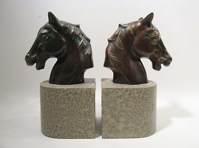 Pair Vintage HORSE Head BOOKENDS Cast Metal Bronze Tone Midcentury Equestrian