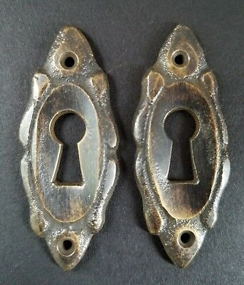 "2 Vintage Antique French Eschutcheons Key Hole Covers 2"" jewelry part #E4"