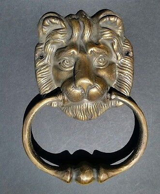 "Big Antique Vintage Style Brass Lion Head Door Knocker, Towel Ring 6-1/2"" # D2"