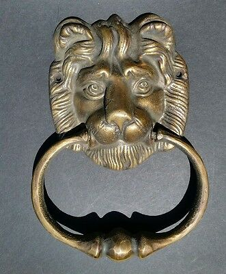 "Big unique antique vintage brass lion head door knocker 6 1/2"" # D2"
