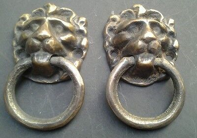 "2 vintage antique brass lion head pulls or knockers 1 1/2""wide x 2 5/8""tall #H13"