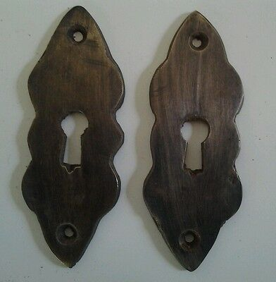 "2 vintage antique brass escutcheons 2 3/4"" tall x 1"" wide, jewelry component #E3"