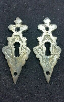 "2 vintage antique eschutcheons ornate  size 3 3/8"" tall jewelry component #E2"