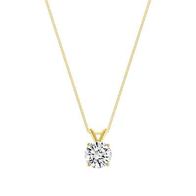"""1 Ct Round Brilliant Cut Solid 14k Yellow Gold Solitaire Pendant 18"""" Necklace"""
