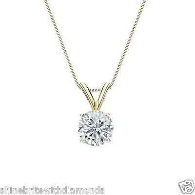 """1.50 Ct Round Brilliant Cut Solid 14k Yellow Gold Solitaire Pendant 18"""" Necklace"""