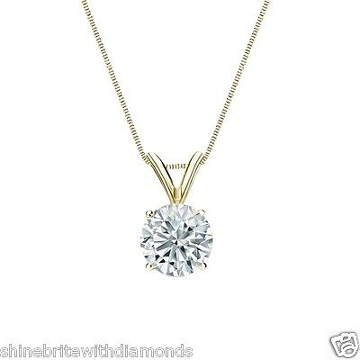 """1.75 Ct Round Brilliant Cut Solid 14k Yellow Gold Solitaire Pendant 18"""" Necklace"""