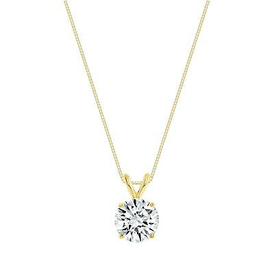 """2 Ct Round Brilliant Cut Solid 14k Yellow Gold Solitaire Pendant 18"""" Necklace"""