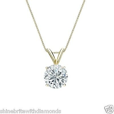 """2.25 Ct Round Brilliant Cut Solid 14k Yellow Gold Solitaire Pendant 18"""" Necklace"""