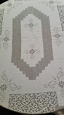 "ANTIQUE WHITE VTG CROCHETED (62"" x 78"") LACE RECTANGLE TABLECLOTH needs repair"
