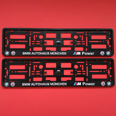 2x BMW ALPINA AUTOHAUS M-POWER Munchen Number Plate Surrounds Holder Frame Car
