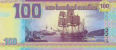 Tortuga, 100 Escalins, two sailing ships in cove 2014 UNC