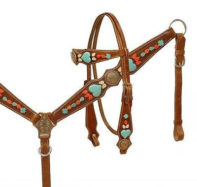 Showman Native American Chief Headstall Breast Collar Set Turquoise Stones!