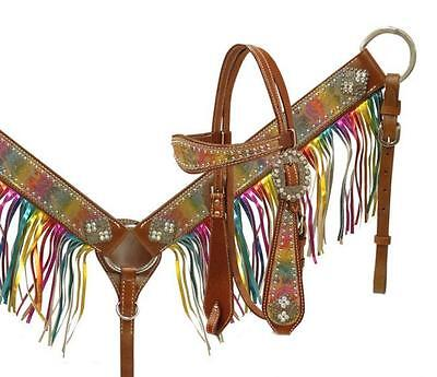 Showman Metallic Rainbow Paisley Fringe Headstall and Breast Collar Tack Set!