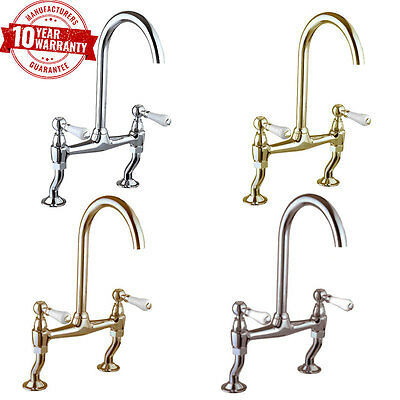Traditional 2 Hole Kitchen Sink Bridge Mixer Tap Classic White Ceramic Levers