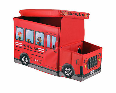 Large Kids Clothes Storage Seat Bedroom Stool Toys Books Box Chest Car Bus Red
