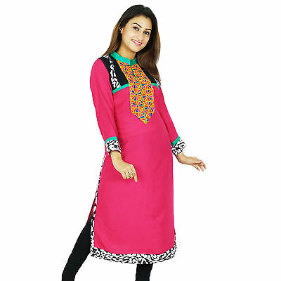 Indian Designer Bollywood Pink Kurta Women Ethnic Kurti Rayon Top Tunic Dress