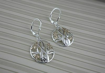 Sterling Silver Drop Dragonfly in the Reeds EARRINGS Keith Jack GOLD accents