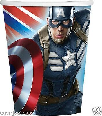 Captain America Winter Soldier 9oz Hot Cold Paper Cups 8ct Party Supplies