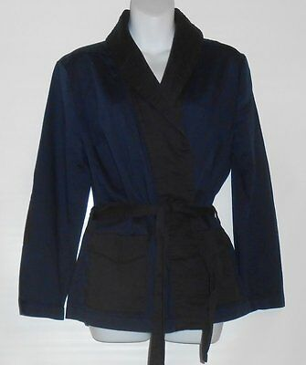 H&M Ladies Washed Twill Belted Suit Jacket Dark Blue Eight (8) NWT