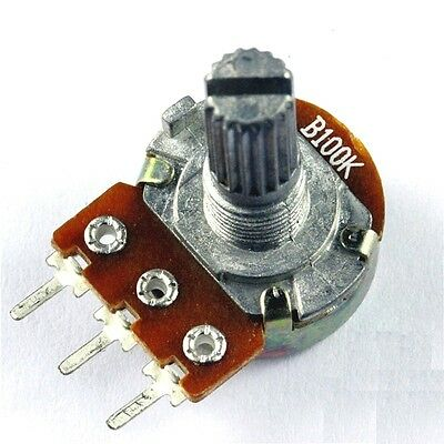10 Pcs 100K Ohm B100K Knurled Shaft Linear Rotary Taper Potentiometer