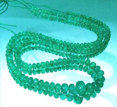 "RARE GEM GRADE NATURAL GREEN BRAZIL EMERALD RONDELLE BEADS 15"" STRAND 55.25cts"