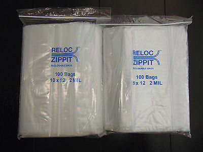 200 Bags 9x12 And 10x12 Clear Reclosable Large  2Mil ZIP LOCK Plastic Poly Bags